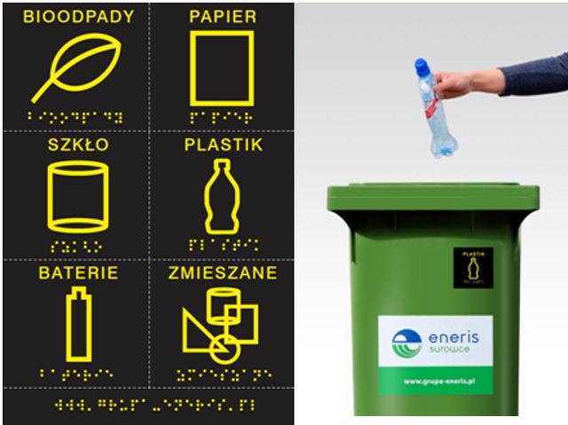 oznakowane znaczki segregacji śmieci w brajlu