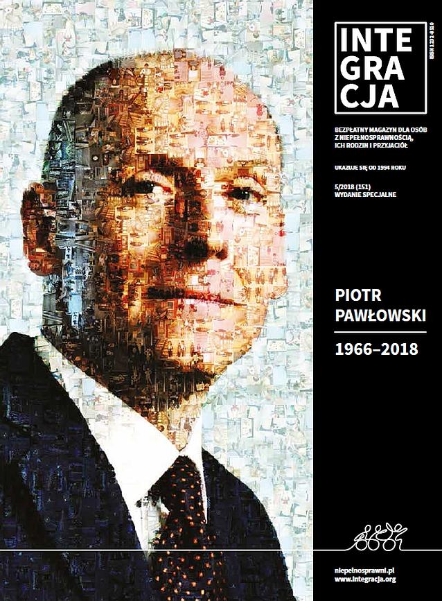 Czarna okładka magazynu Integracja i napis: Piotr Pawłowski 1966-2018